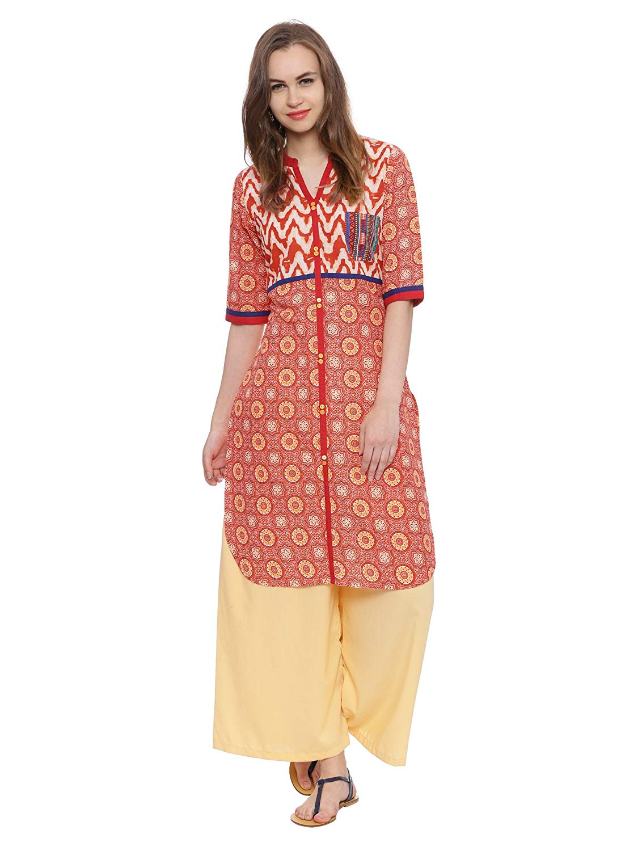 5cae6a5fc5 Avaana Women Printed Cambric Long Kurti 50000341-Orange - BlueAura ...