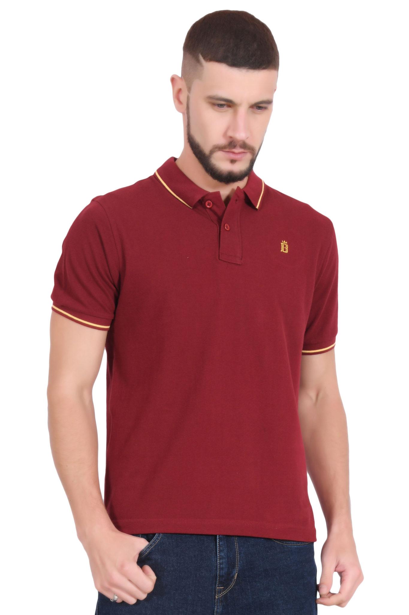 bd2cb3ed4 Plain Cotton Maroon Polo T shirt for Men - by BlueAura Apparels