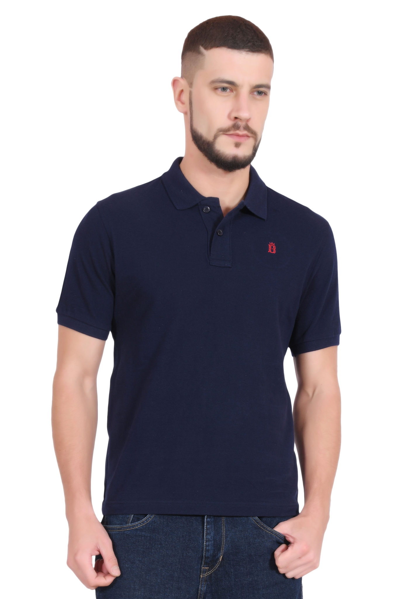 Plain Cotton Navy Blue Polo T shirt for Men - by BlueAura ...