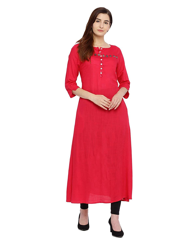 4c63948f81c Evam women Cotton A-line Long Kurta 90000616-Fuchsia - BlueAura Apparels